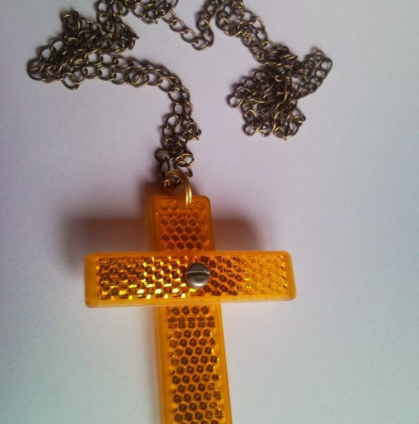 Christian cross necklace from recycled bicycle retroreflector
