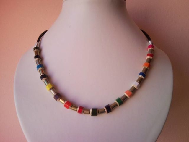 Coloured pencil, crayon necklace with rings on leather