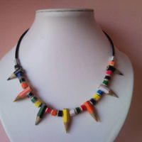 Coloured spiky pencil, crayon necklace on leather
