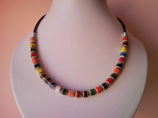 Coloured pencil, crayon necklace on leather for men