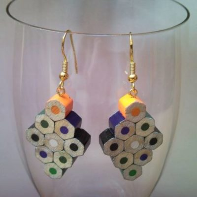 Diamond shaped coloured pencil crayon earrings