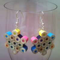 Snow flake shaped coloured pencil crayon earrings 1.