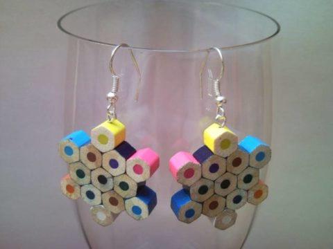 Snow flake shaped coloured pencil crayon earrings 1.