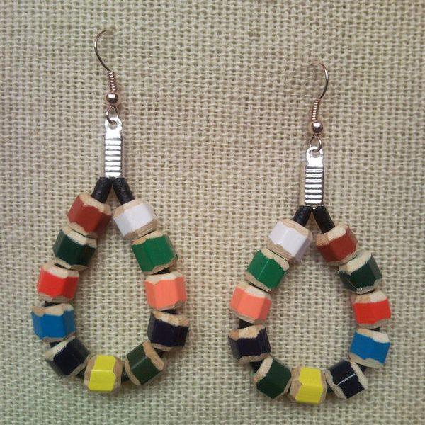 Raindrop shaped coloured pencil crayon earrings