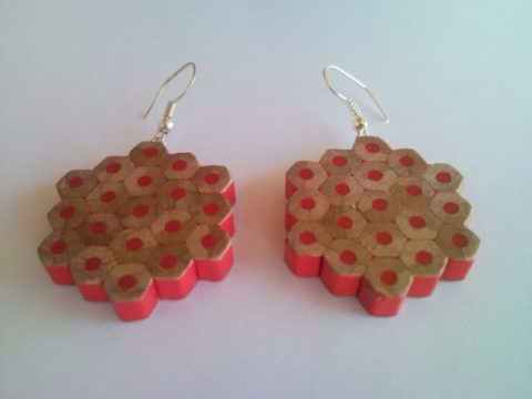 Red flower shape pencil crayon earrings - mottled, dotted, spotted