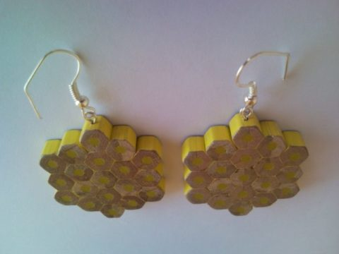 Yellow flower shape pencil crayon earrings - mottled, dotted, spotted