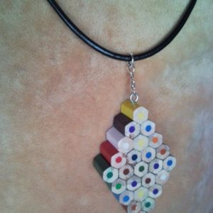 Coloured diamond pencil, crayon necklace pendant