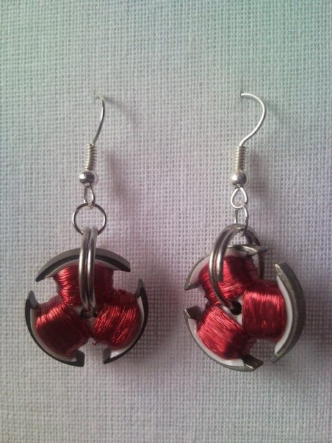 Recycled Cd Disc Drive Motor Red Coil Steampunk Earrings