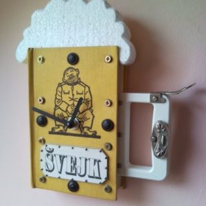 Good soldier Svejk novel book wall clock as a beer mug