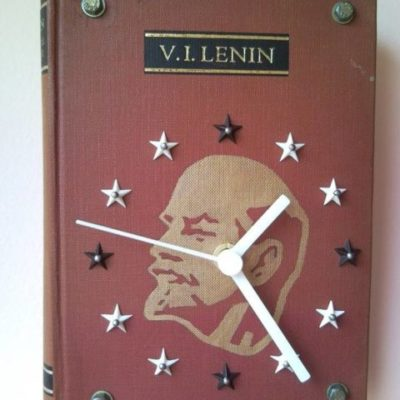 Historical wall clock from book of comrade Lenin