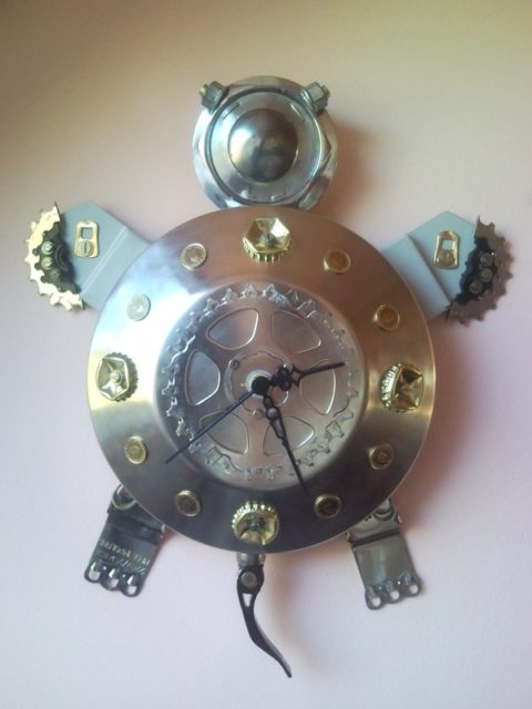 Recycled Turtle Wall Clock Junk Sculpture From Found Objects