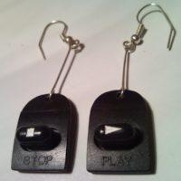 Retro Walkman play & stop button earrings