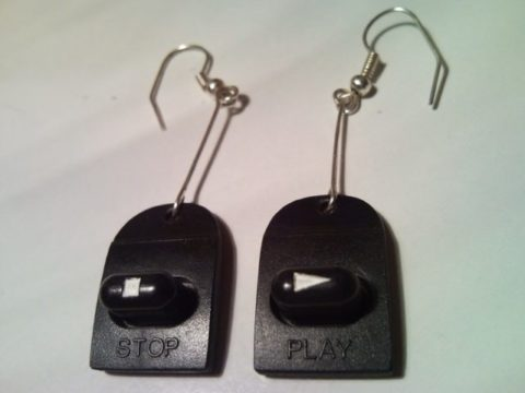 Retro Walkman play & stop button earrings