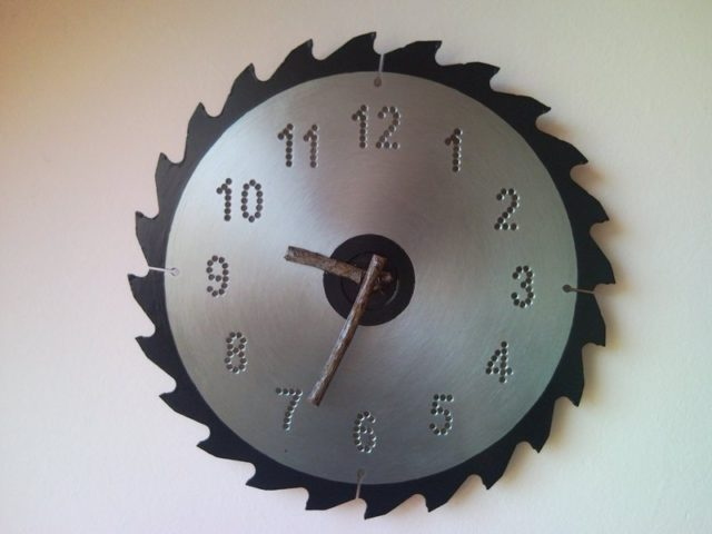 Recycled Circular Saw Blade Wall Clock With Bough Hands