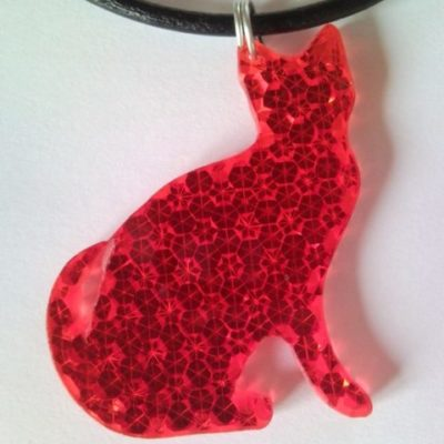 Red lady-cat necklace, pendant from retro-reflector