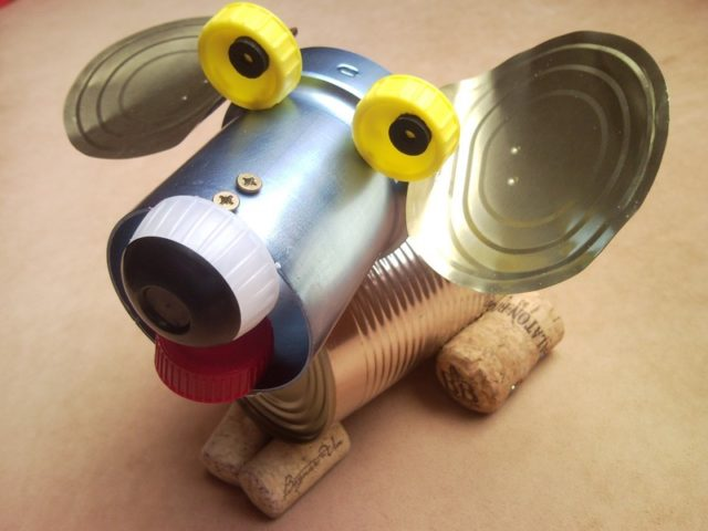 tin can puppy recycled dog sculpture junk art home decor 1