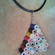 Coloured triangle pencil, crayon necklace pendant