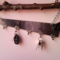 Upcycled Welcome Home key holder, organizer from pad saw