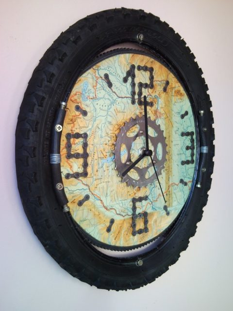 Recycled Wheel Bicycle Wall Clock With Map For Bikers