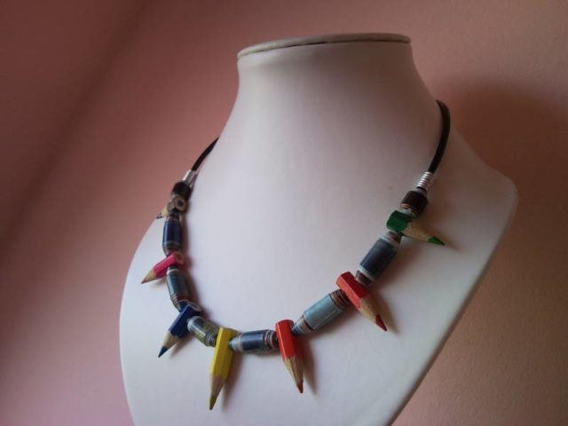 Coloured spiky pencil, crayon paper roll necklace on leather