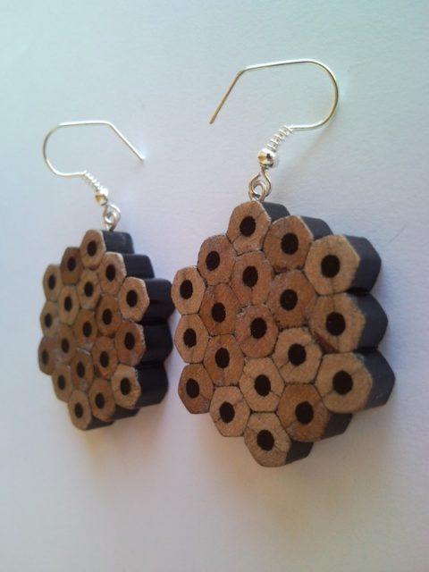 Black flower shape pencil crayon earrings - mottled, dotted, spotted
