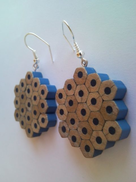 Blue flower shape pencil crayon earrings - mottled, dotted, spotted