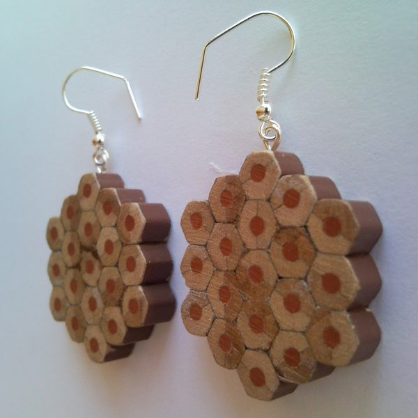 Brown flower shape pencil crayon earrings - mottled, dotted, spotted