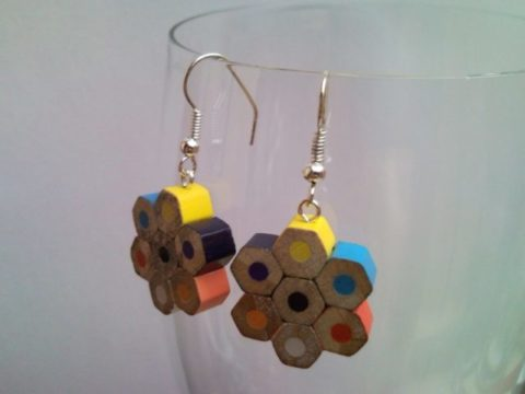 Flower shaped coloured pencil crayon earrings 1.
