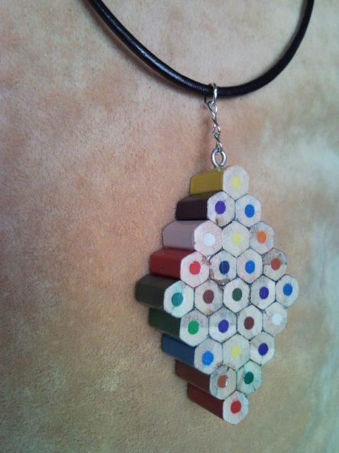 Coloured diamond pencil, crayon necklace pendant