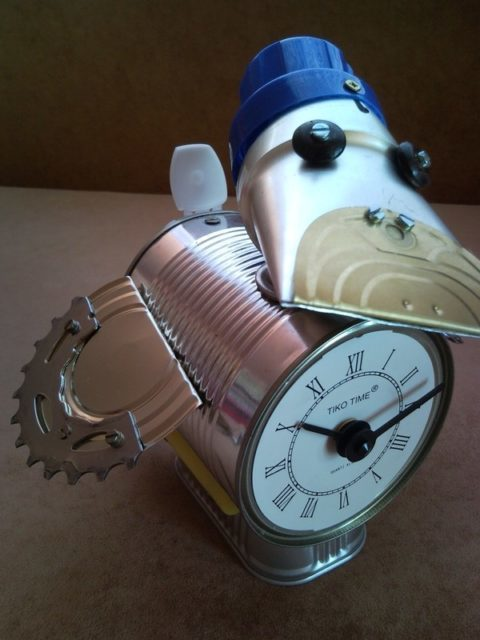 Recycled duck table, desk clock, junk art, sculpture, home decor
