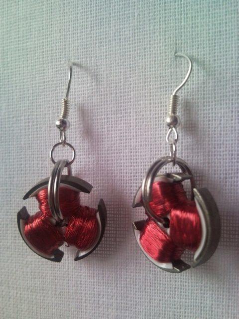 Steampunk style CD disc drive motor earrings
