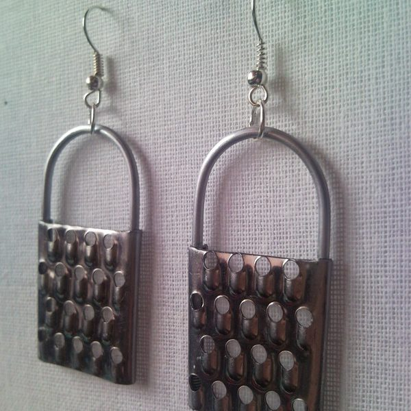 Miniature metal cheese grater earrings