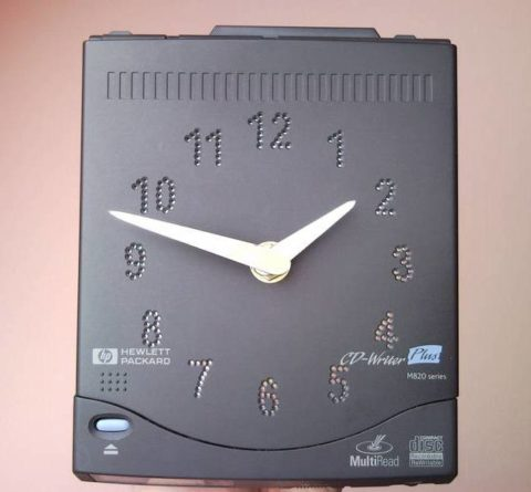 Retro geekery CD writer wall clock for geeks, computer lovers