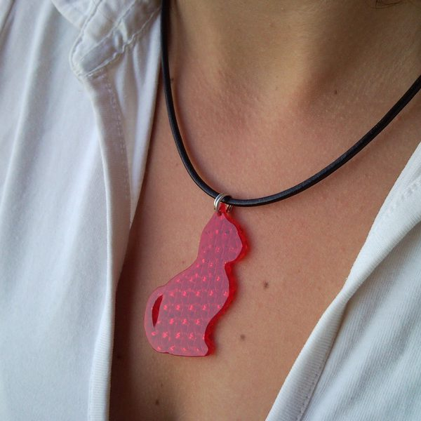 Red Tom-cat necklace, pendant from retro-reflector