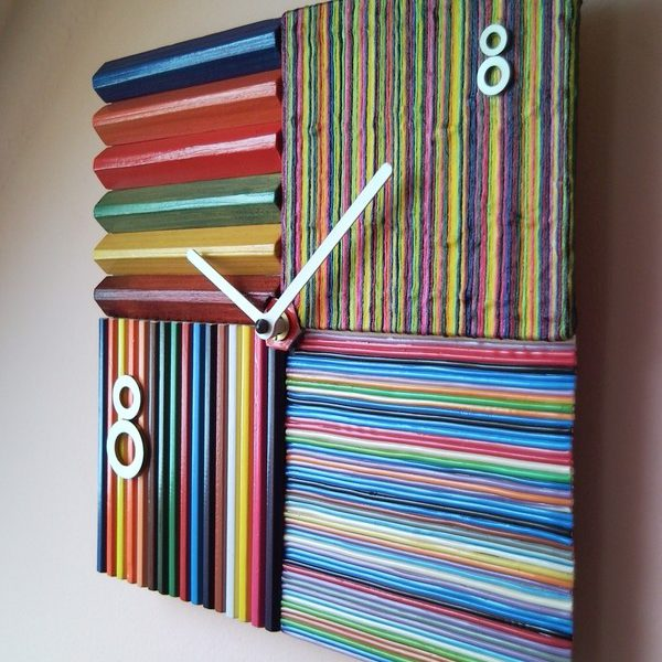Recycled striped banded streaked streaky wall clock with lucky number