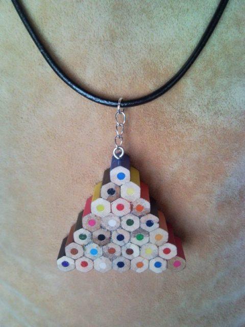 Coloured triangle pencil, crayon necklace pendant