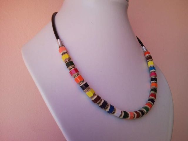Coloured pencil, crayon necklace with washer on leather