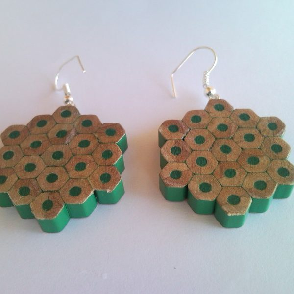 Green flower shape pencil crayon earrings - mottled, dotted, spotted
