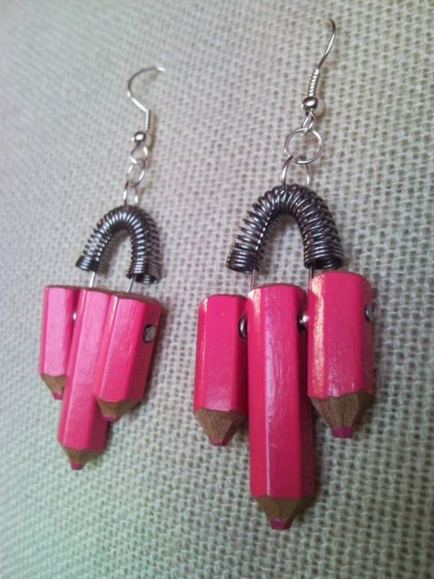 Pink colour pencil crayon earrings with spring