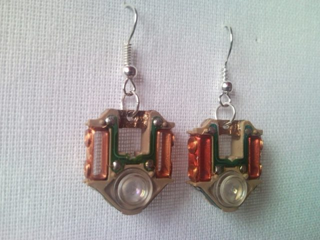 Recycled Electric Cd Player Laser Lens Steampunk Earrings 1