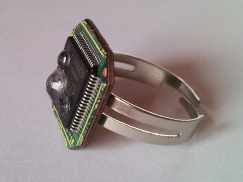 Recycled microchip, PCB, printed circuit board geekery ring