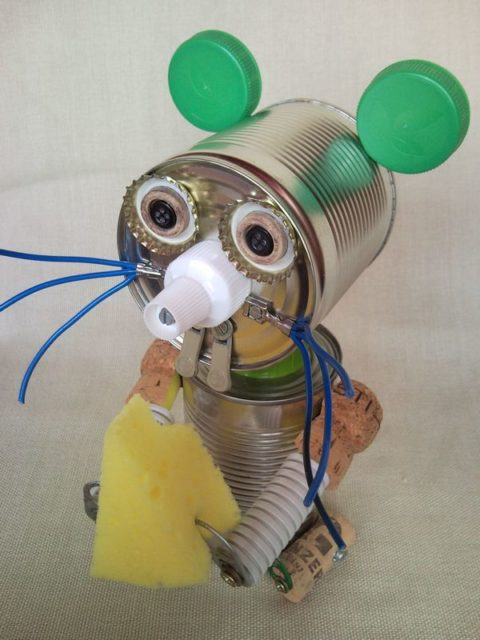 Tin can mouse eats a bit of cheese, recycled home decor
