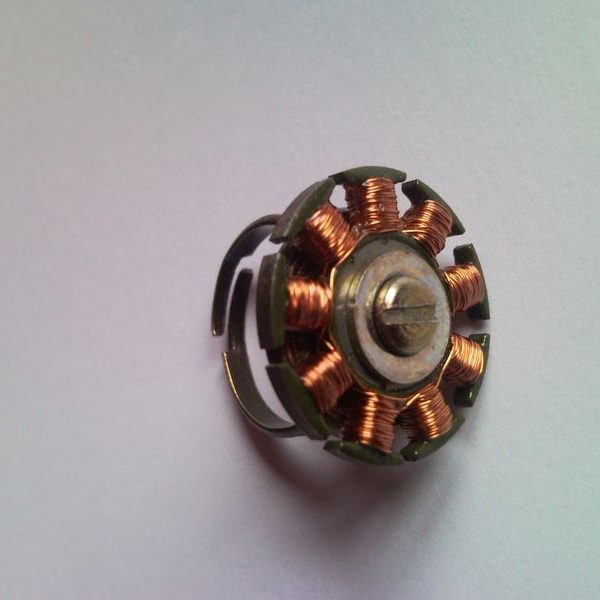 Steampunk style ring from CD drive electric motor coil