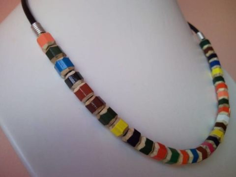 Coloured pencil, crayon necklace on leather