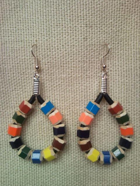 Raindrop shaped coloured pencil crayon earrings