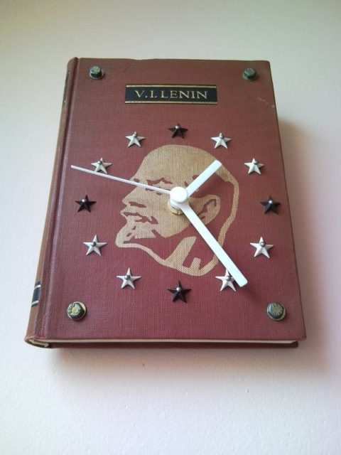 Historical wall clock from book of comrade Lenin