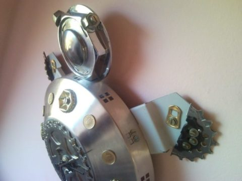 Recycled found object junk sculpture turtle wall clock