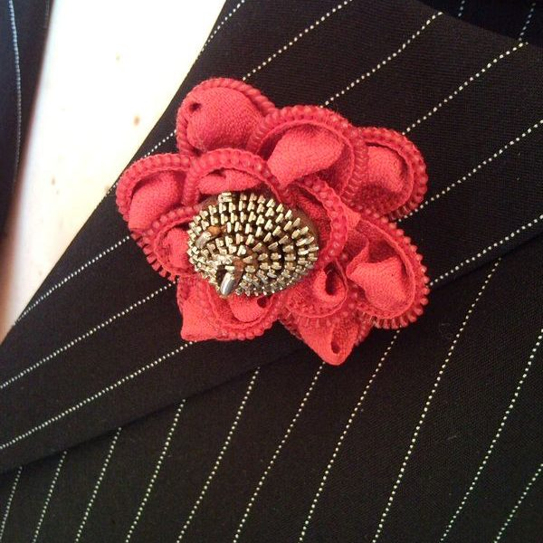 Recycled elegant red zipper rose flower brooch