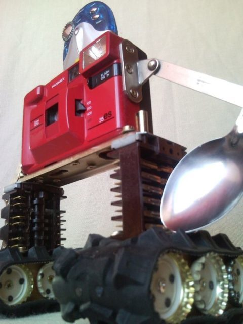 Upcycled junk sculpture photo camera robot machinery, home decor