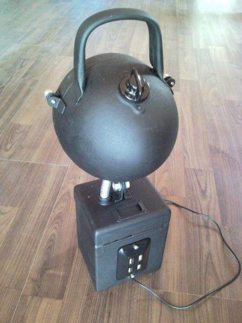 Upcycled industrial workshop laptop LED lamp from garage, works from USB